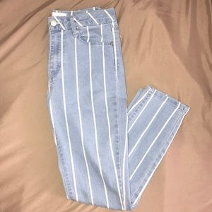 Striped high rise jeans